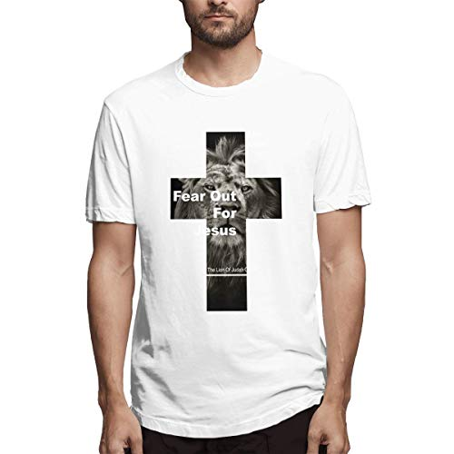 Jully Satt Fear Not for Jesus The Lion of Judah Cross Men's Printing Shirt Jesus is Judah Smith,Jesus Among Secular Gods Sport White L