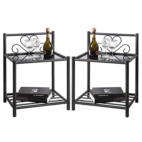 GreenForest Bedside Table Set of 2 Nightstand 2 Tier Retro End Table,with Metal Storage Shelf and Glass top for Bedroom Living Room,Black by GreenForest