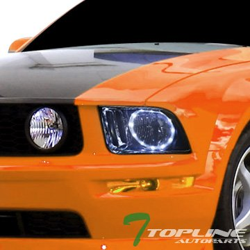 Topline Autopart Smoke Crystal Halo LED Angel Eyes - Mustang 2008 Headlights Hid Halo