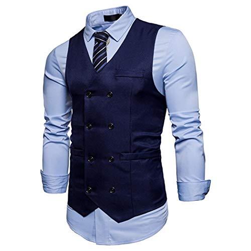 Et Décontracté Homme Pour Cokil Col Bleu Costume Gilets Avec Bouton Marine Gilet De Montant HIxzX