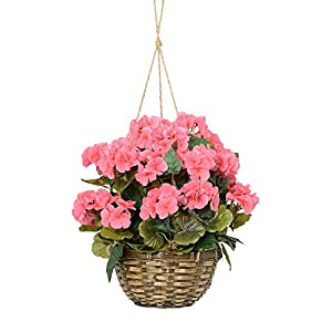 18 Inches High Hanging Pink Geranium Flowering Plant in Wicker Basket, Artificial Floral 12