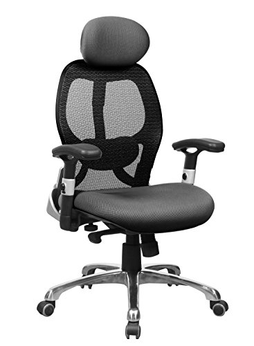 OFFICE FACTOR High Back Executive Office Chair, Ergonomic Black Mesh Managers Chair with Adjustable Arms and Lumbar Support, 5 Leg Aluminum Base, 300 Lbs Weight ()