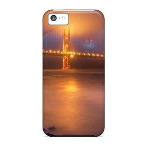 High Grade Super Stylish Flexible Tpu Case For Iphone 5c - Golden Gate Bridge