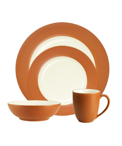 Noritake Colorwave Terra Cotta 4-Piece Place Setting, Rim Shape Review