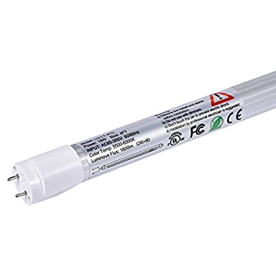 LUMINOSUM T8 LED Tube Light 4ft 18W (36W Equivalent) Single-Ended Powered G13 Clear Cover Daylight 5500-6000K