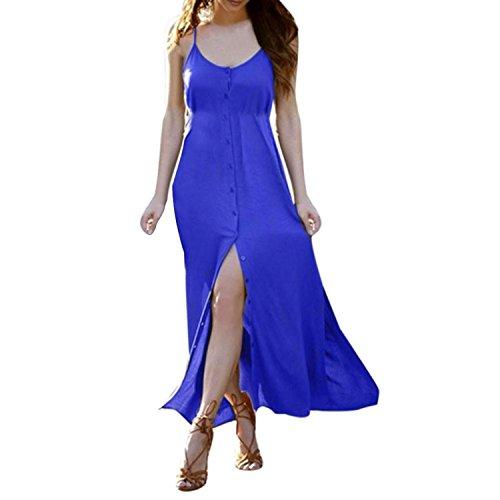 Women Summer Sleeveless Solid Button Party Boho Beach Long Maxi Dress