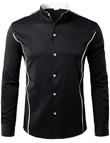 ZEROYAA Mens Hipster Slim Fit Long Sleeve Mandarin Collar Shirts with Contrast Trim Z51 Black Small