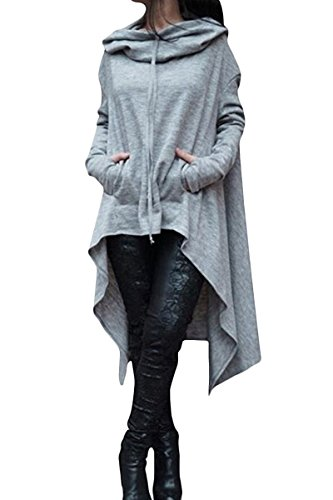 ThusFar Women's Loose Long Sleeve Asymmetric Hem Sweatshirts Solid Color Pullover Hoodie Dress Gray S ()