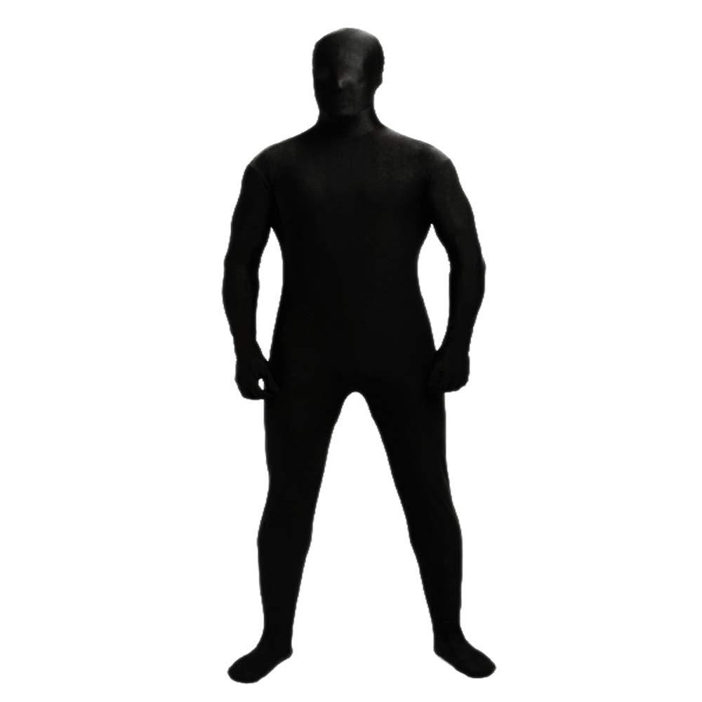 YOMOSA Spandex Bodysuit Full Lycra Suit Cosplay Costume Zentai Men Women Unisex Body Suits for Halloween Holiday Size L Black