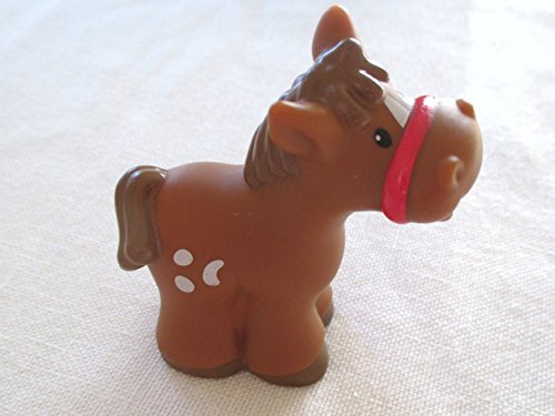 Fisher Price Little People RARE Animal Brown Spotted Horse Pony.LIGHT Brown Mane Replacement Baby Farm Animals, Stable, Petting Zoo (Spotted Pony Horse)