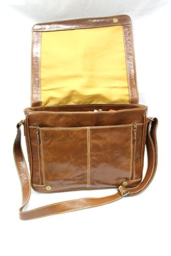 Boots And Leather, Borsa a spalla uomo Marrone Tenné medium