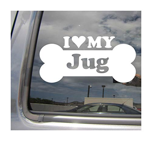 (I Heart Love My Jug - Dog Bone Jack Russell Terrier Pug Designer Mixed Hybrid Breed Cars Trucks Moped Helmet Surfboard Auto Automotive Craft Laptop Vinyl Decal Store Window Wall Sticker 13542)
