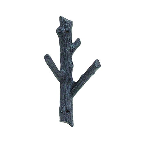 Time Concept Cast Iron Two-Hook Wall Mount Branch - Medium - Coat Rack Hanger, Rustic Home Decor