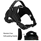 WIGGLE TAIL No Pull Dog Harness with Handle, Reflective Adjustable Vest Harness for Small/Medium/Large Dogs in Training Walking and Hiking(Black Oxford, Small)