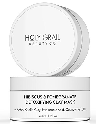 Exfoliating Mask - Kaolin Clay Hydrating Face Mask with Exfoliating Glycolic Acid for Blackheads, Acne & Large Pores. 70% Organic Moisturizing Face Mask by Holy Grail Beauty