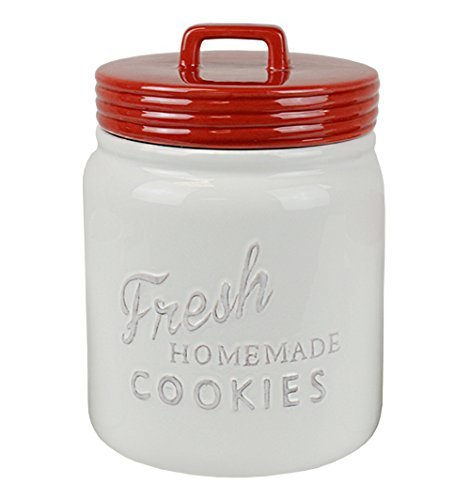 Fresh Homemade Cookies Vintage White Red Kitchen Cookie Jar ()