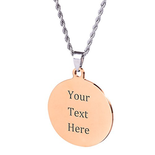 Caramel Custom Stainless Steel Pendant Necklace with Personalized Engraving 3 Shapes and 9 Chains to Choose (Rose Gold Color & Round Shape)