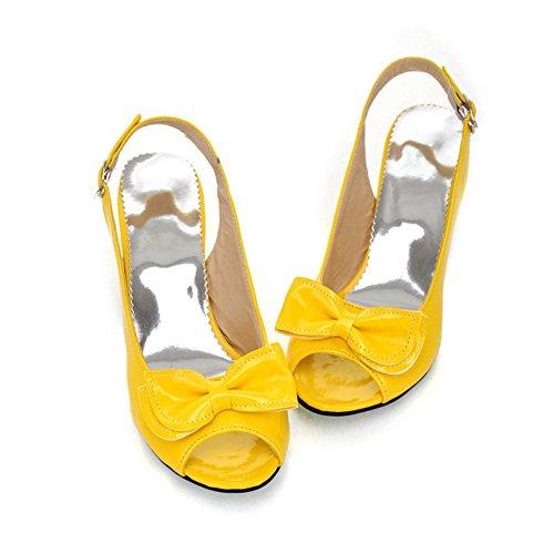 SHINIK Zapatos de mujer PU Primavera Verano Sandalias Tacón stiletto Tacón grueso Peep Toe Bowknot para fiesta y vestido de noche Negro Amarillo Rojo Azul Rosa D