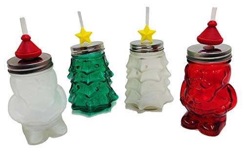 Christmas Holiday Jar Sipper Jar with Glass Straw (Assorted Santa & Tree)