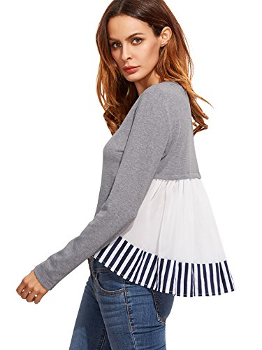 SheIn Womens Round Neck High Low Ruffle Hem Color Block Blouse