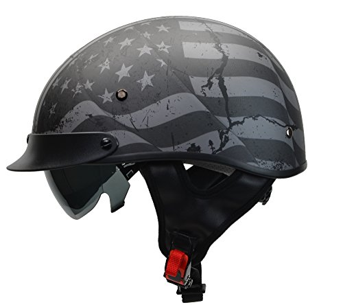 Vega Helmets Warrior Motorcycle Half Helmet with Sunshield for Men & Women, Adjustable Size Dial DOT Half Face Skull Cap for Bike Cruiser Chopper Moped Scooter ATV (X-Large, Patriotic Flag Graphic) (Ride Half Helmet)
