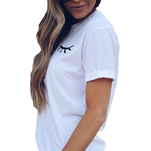 Manches Eyelash Femmes Causal T Rouge Tops Shirt T Summer Shirt Mignon Courtes lvres White imprim 88r5qw