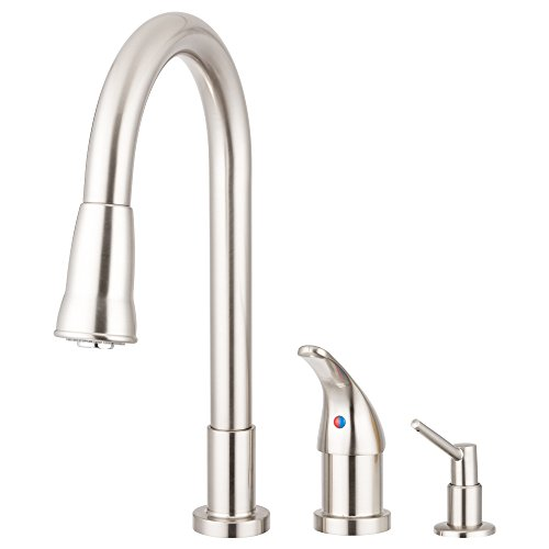 Pacific Bay Grandview Pull Down Kitchen Faucet with Soap Dispenser - Beautiful Upgrade for any Home - NEW 2017 Model (Brushed Satin Nickel)