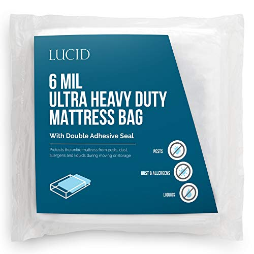 LUCID, Storage or Disposal 6 Mil Ultra Heavy Duty Mattress Bag for Moving, Queen, Clear