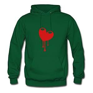 O-neck Heart Dripping So Cute! Hoody Green X-large Women