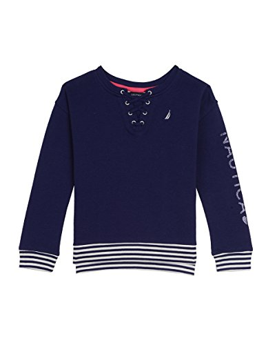 5f9f76d1a Galleon - Nautica Little Girls  French Terry Top With Lace-up Front ...