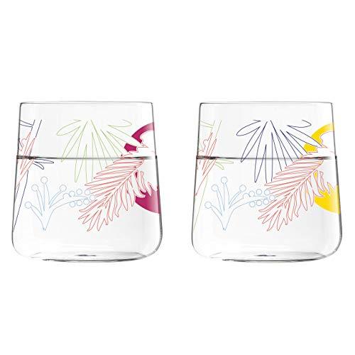 Ritzenhoff Daisy Glass Set, 2Units, Glass, grau/Blau/grün/Gelb/Rot/lila, 8.25 x 8.25 x 8.3000000000000007 cm (Blau Grau Grün)