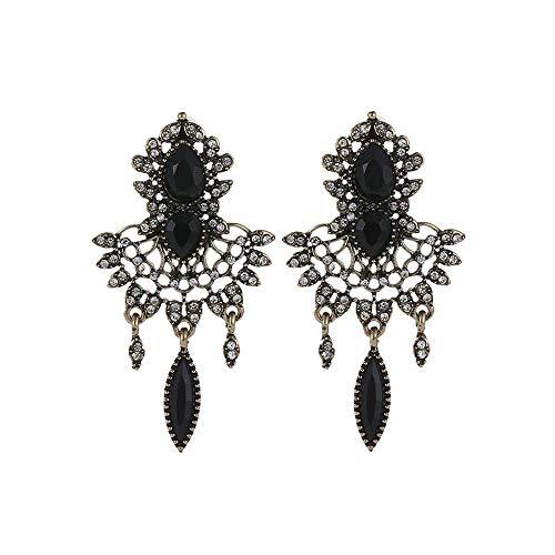 Women's Openwork Flowers Crystal Wedding Bridal Cluster Leaves Teardrop Dangle Earrings (Black)