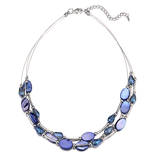 Pearl&Club Crystal Layered Statement Necklace for Women - Choker Necklace with Chunky Silver Chain, Birthday Gifts for Women (12-Blue)
