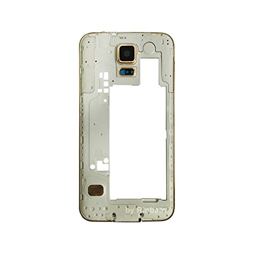Replacement Middle Chassis (Rinbers GOLD Middle Frame Bezel Chassis Rear Camera Panel Housing Replacement Part for Samsung Galaxy S5 G900F/G900H/G900A/G900T/G900V/G900P)