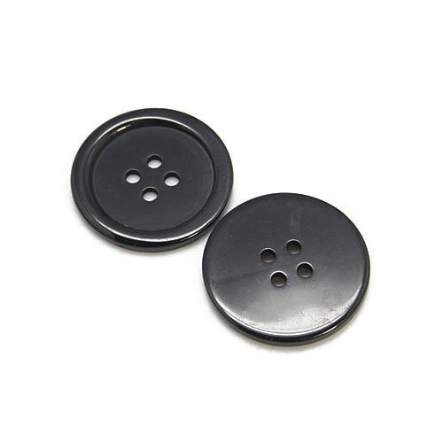 Packet of 15 x Black Resin 25mm Round Buttons (4 Hole) - (HA10615) - Charming Beads Something Crafty Ltd