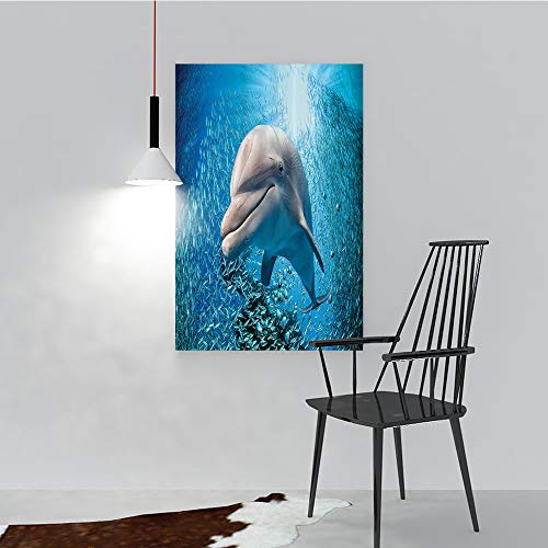 Philip C. Williams Frameless PaintingA Bottlenose Dolphin in Ocean Fish Sunlight in Marine Natural Underwater to liven up and Energize Any Wall or Room. W44 x H64