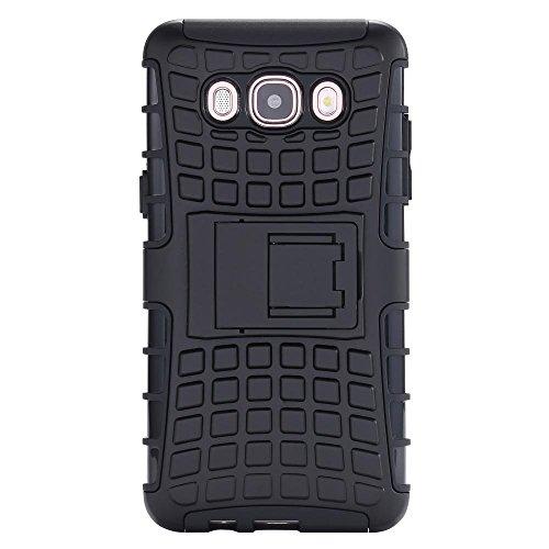 ECENCE Samsung Galaxy J3 (2016) Hybrid Outdoor Funda Cover Coraza Protección Caja Caso Bumper Silicona Azul + De Vidrio Templado 9H 0.33mm 2.5D 43040309 Negro + DE VIDRIO TEMPLADO