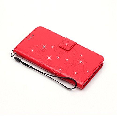Custodia Portafoglio Strass In Lg d855 Di Rosso Yibo27541 Carta Credito Porta Lomogo G3 Cover Con Per Chiusura Magnetica Fiore Pelle Rilievo Grigio Yg5w08