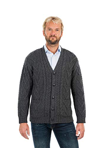 Mens V Neck Cable Cardigan (Charcoal, XLarge)