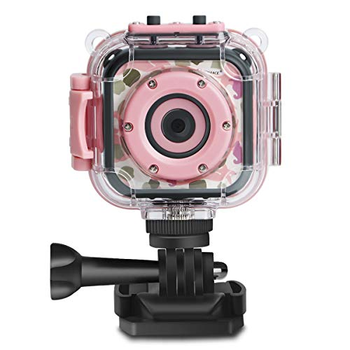 DROGRACE Children Kids Camera Waterproof Digital Video HD Action Camera 1080P Sports Camera Camcorder DV for Girls Birthday Holiday Gift Learn Camera Toy 1.77'' LCD Screen (Pink)