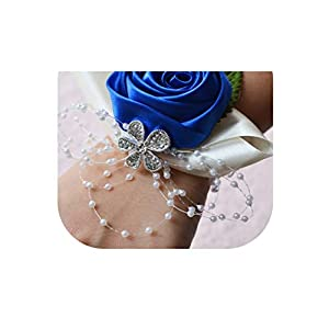 meiguiyuan Wedding Wrist Corsages Bride Bridesmaids Hand Flowers Tiffany Blue Pink Red Purple Party Wedding Prom Women Corsages 113