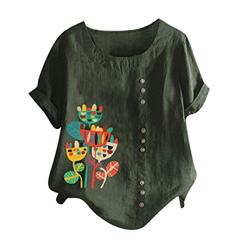 Dressin Women's Shirts Floral Print O Neck Loose Tops Plus Size Button Blouse Tunic Tops