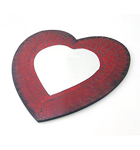 artigianale Specchio da parete in mosaico di vetro forma cuore 40x 40cm Artisanal