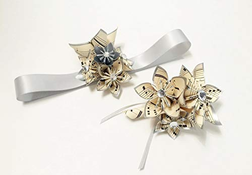 Custom-Date-Night-Corsage-Boutonniere-set-perfect-for-prom-homecomingmilitary-ball-wedding-accessory-handmade-one-of-a-kind-origami-personalized-paper-flowers