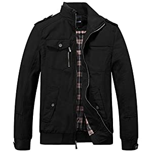 Wantdo Men's Cotton Stand Collar Windbreaker Jacket Large Black