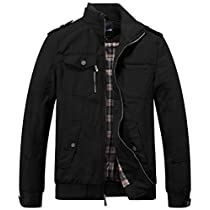 Wantdo Mens Lightweight Stand Collar Utility Windbreaker Jacket