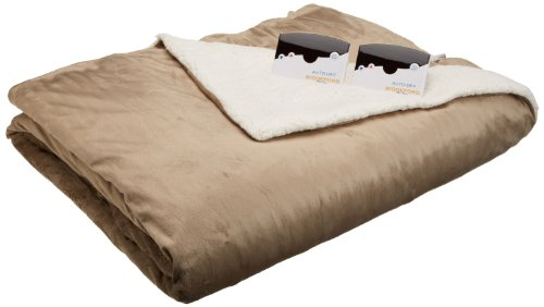 Biddeford 6003-9051136-713 Electric Heated Micro Mink/Sherpa Blanket, Queen, Linen