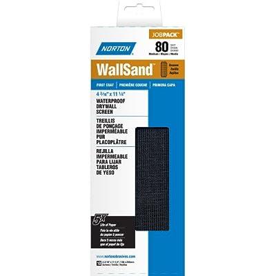 "Norton 07660702303 WallSand Drywall Sanding Screen, 11-1/4"" Length x 4-3/16"" Width, 80 Grit, Coarse Grade (Pack of 25)"