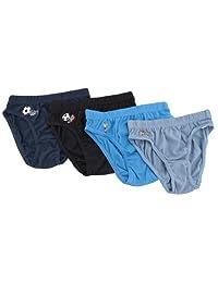 Childrens/Kids Boys 100% Cotton Briefs Football Pattern Underwear (Pack of 4)