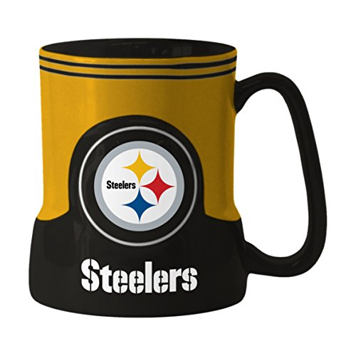 NFL Pittsburgh Steelers Sculpted Game Time Mug, 18-ounce, Black